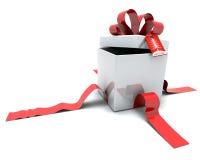Rectángulo de regalo con la cinta y la etiqueta Imágenes de archivo libres de regalías