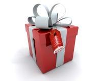 Rectángulo de regalo con la cinta y la etiqueta Fotografía de archivo