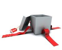 Rectángulo de regalo con la cinta y la etiqueta Fotos de archivo libres de regalías