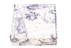Rectángulo de regalo con la correspondencia geográfica vieja Fotos de archivo libres de regalías