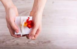Rectángulo de regalo con las flores Fotografía de archivo libre de regalías