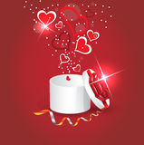 Rectángulo de regalo con los corazones Ilustración del Vector