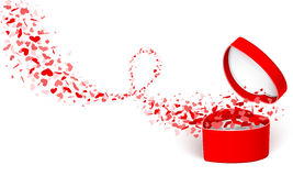 Rectángulo de regalo con los corazones Imágenes de archivo libres de regalías