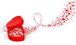 Rectángulo de regalo con los corazones Foto de archivo libre de regalías