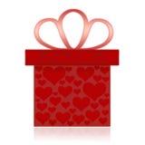 Rectángulo de regalo con los corazones Imagenes de archivo