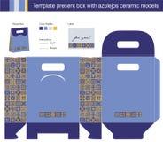 Rectángulo de regalo con los modelos de cerámica de los azulejos azules stock de ilustración