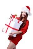 Rectángulo de regalo de la explotación agrícola de la sonrisa de la muchacha de la Navidad Foto de archivo libre de regalías