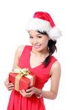 Rectángulo de regalo de la explotación agrícola de la sonrisa de la muchacha de la Navidad Foto de archivo