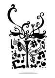 Rectángulo de regalo de la música Imagenes de archivo