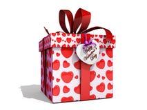Rectángulo de regalo de la tarjeta del día de San Valentín Foto de archivo