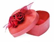 Rectángulo de regalo de la tarjeta del día de San Valentín Imagenes de archivo