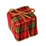 Rectángulo de regalo de la tela escocesa Fotografía de archivo libre de regalías