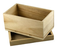 Rectángulo de regalo de madera abierto con con una tapa Foto de archivo libre de regalías