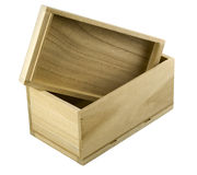 Rectángulo de regalo de madera con la tapa abierta Imagen de archivo