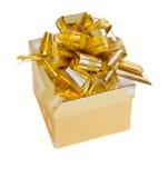 Rectángulo de regalo de oro Foto de archivo libre de regalías