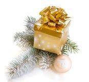 Rectángulo de regalo de oro con el árbol de abeto Imágenes de archivo libres de regalías