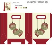 Rectángulo de regalo decorativo con las bolas de la Navidad stock de ilustración