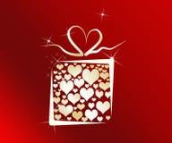 Rectángulo de regalo del amor con los corazones dentro Imagen de archivo