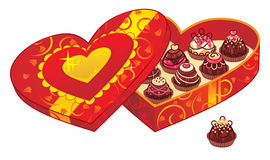 Rectángulo de regalo del chocolate de la tarjeta del día de San Valentín Foto de archivo