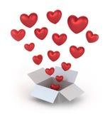 Rectángulo de regalo del día de tarjeta del día de San Valentín Imagen de archivo libre de regalías