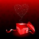 Rectángulo de regalo del día de tarjetas del día de San Valentín Fotografía de archivo libre de regalías