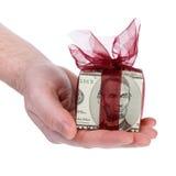 Rectángulo de regalo del dinero de 5 dólares Imagenes de archivo
