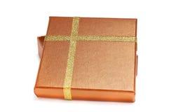 Rectángulo de regalo del oro Foto de archivo