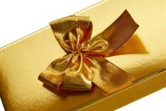 Rectángulo de regalo del oro Imagenes de archivo