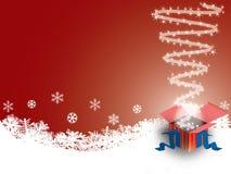 Rectángulo de regalo en fondo del invierno fotos de archivo