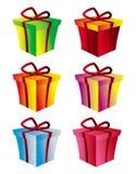 Rectángulo de regalo fijado en diversas versiones del color libre illustration