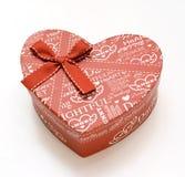 Rectángulo de regalo hared hermoso del corazón en el fondo blanco Foto de archivo