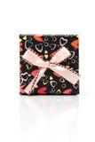 Rectángulo de regalo hermoso de la mano-mblack en el fondo blanco Imágenes de archivo libres de regalías
