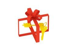 Rectángulo de regalo invisible con claves Fotografía de archivo libre de regalías