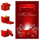 Rectángulo de regalo mágico de la Navidad. ilustración del vector