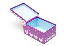 Rectángulo de regalo púrpura abierto hecho a mano Foto de archivo libre de regalías