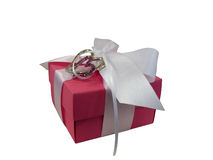 Rectángulo de regalo rojo aislado sobre blanco Fotos de archivo