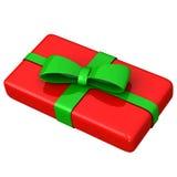 Rectángulo de regalo rojo con el arqueamiento verde 3d Fotos de archivo