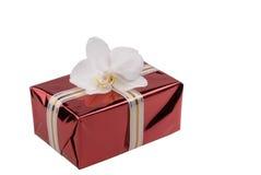 Rectángulo de regalo rojo con la orquídea blanca. Imagenes de archivo