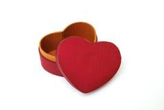 Rectángulo de regalo rojo del corazón - seda tailandesa Imagen de archivo