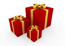 rectángulo de regalo rojo del oro 3d Imagenes de archivo
