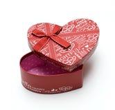 Rectángulo de regalo rojo hecho a mano abierto del corazón Fotografía de archivo