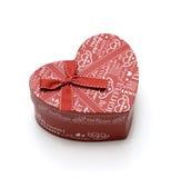 Rectángulo de regalo rojo hecho a mano hermoso del corazón Fotografía de archivo