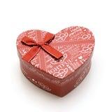 Rectángulo de regalo rojo hecho a mano hermoso del corazón Fotografía de archivo libre de regalías