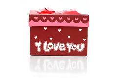 Rectángulo de regalo rojo hermoso aislado Imagen de archivo