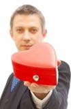 Rectángulo de regalo rojo para la tarjeta del día de San Valentín Imagenes de archivo