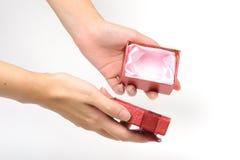 Rectángulo de regalo rojo vacío Fotografía de archivo libre de regalías