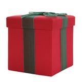 Rectángulo de regalo rojo y verde de la tela Fotos de archivo
