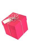 Rectángulo de regalo rosado (cuadrado) con el arqueamiento y la etiqueta fotos de archivo libres de regalías