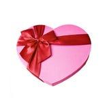 Rectángulo de regalo rosado en forma de corazón Fotografía de archivo