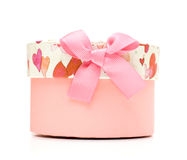 Rectángulo de regalo rosado hermoso hecho a mano Fotografía de archivo